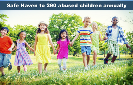 Safe Haven to 290 abused children annually with picture of children in field