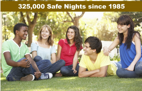 325,000 Safe Nights since 1985 with picture of teens outside