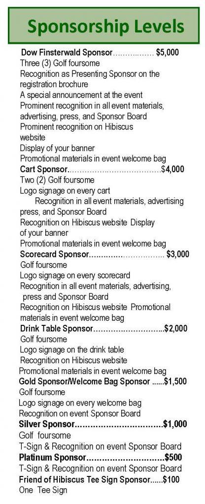 Dow Golf sponsors