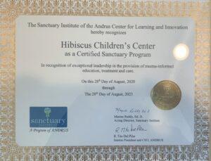 Sanctuary Model certificate HCC
