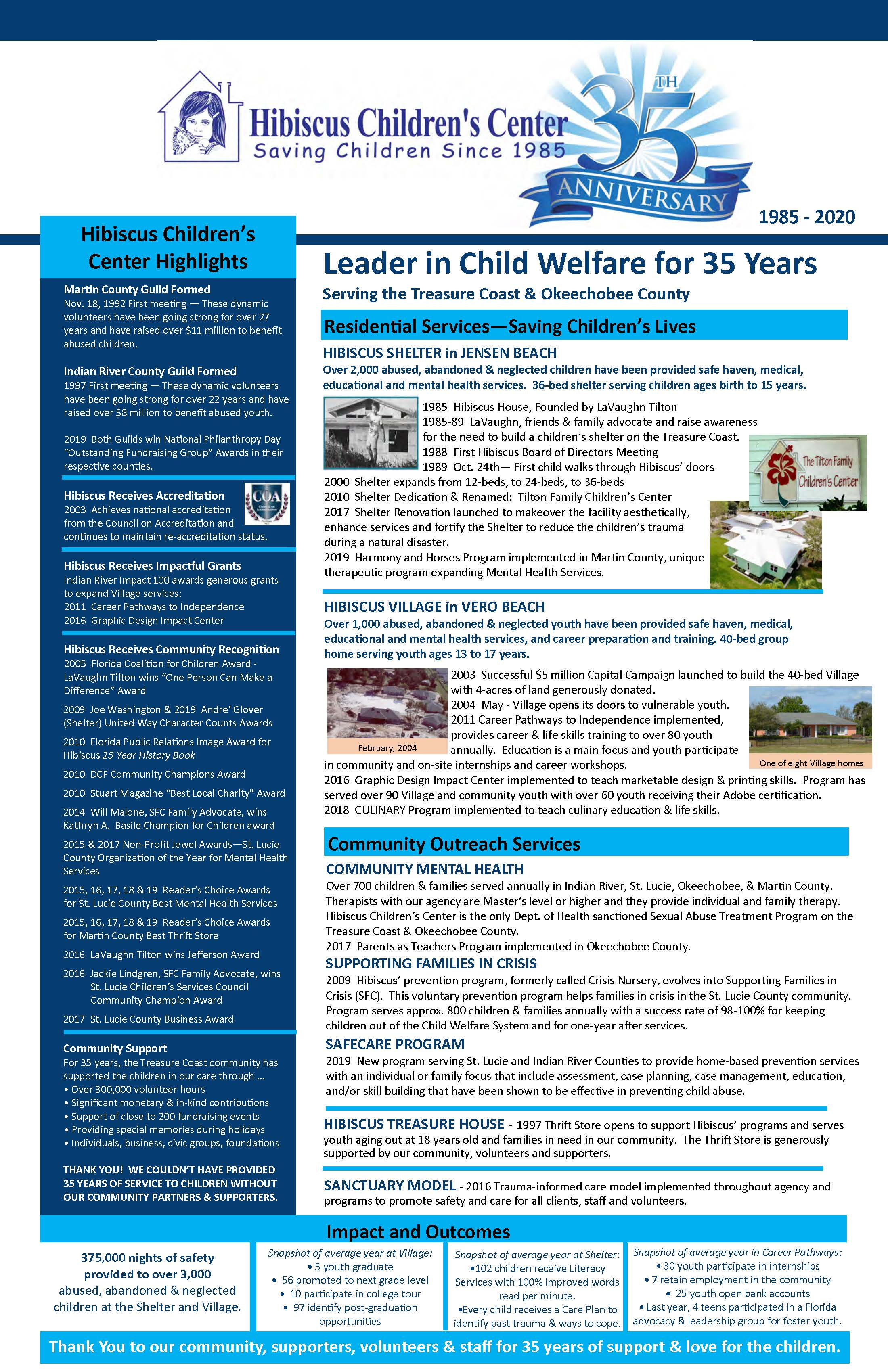 HCC 35 year anniversary newsletter